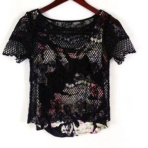 White House Black Market Floral Lace Top I03